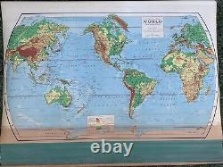 VTG World Map Pull Down Wall Mount School Physical Political RD906 Rand McNally