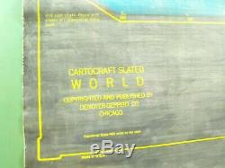 Vint. Denoyer-Geppert Cartocraft Slated World & USA Double Sided School Wall Map
