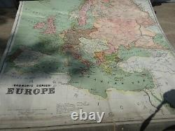 Vintage 1914 AJ Nystrom School Map Rack with 8 Maps Antique A J World Map Rack NR