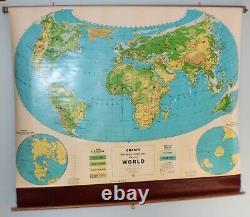 Vintage, 1940's Cram's Pull Down World Map United States School Map Wall Hang