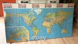 Vintage 1970s 57 X 31 British Airways World Wall Map Poster Cities Foam Board