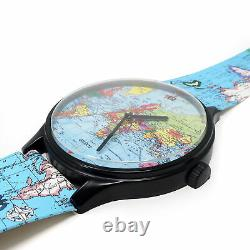 Vintage 1980s World Map Watch Wall Clock