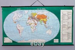 Vintage Antique school wall chart Rare Map The World in 13-15 century. Original
