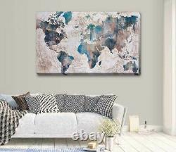 Vintage Blue World Map Stretched Canvas Print Wall Art Hanging Home Decor A396