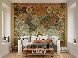 Vintage Classic Map of the World Travellers World Map Wall Mural Wall Art