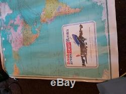 Vintage Colour 1980s British Airways Cargo Route Large 154x112cm World Wall Map