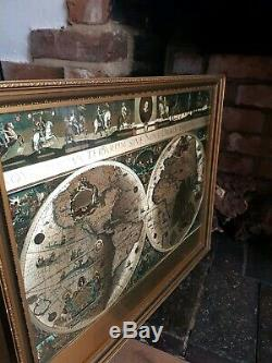Vintage Framed Gold Foil Blaeu Wall Maps of Old and New World And Great Britain