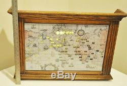 Vintage Howard Miller World Time Zone Map Lighted Wall Clock Large 612-371