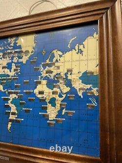 Vintage Howard Miller World Time Zone Map & Wall Clock Works READ FAST SHIP