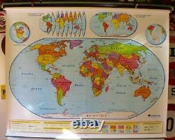 Vintage NYSTROM pull down Map of World United States 1NS991 2 Layers 1990s