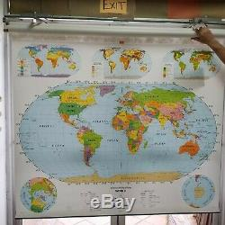 Vintage Nystrom Pull Down Classroom School World USA Wall Map 60 X 72