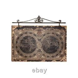 Vintage Style World Map Metal And Wood Wall Art