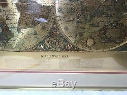 Vintage Teal & Gold Foiled Blaeu Wall Map of New World 22.5 X 28 Matted Framed