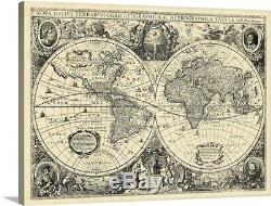 Vintage World Map Canvas Wall Art Print, Map Home Decor