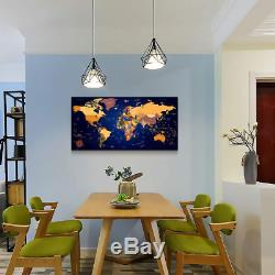 Vintage World map Canvas Art Dark Blue Painting Office Wall Art Decor for Living