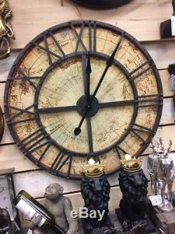 Vintage Worlds Map Roman Numerals Round Wall Clock Traditional Retro Industrial