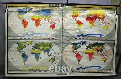 Vintage rollable wall chart poster, geography, map, climate, earth, world