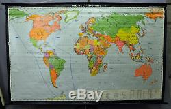 Vintage rollable wall chart poster world map retro print political 1945-1975