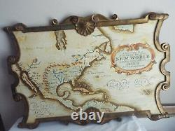 Vtg Palladio Italy New World Map Wooden Large 36 Wall Hanging Plaque