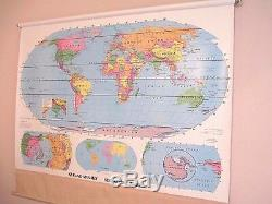 Vtg. Rand McNally, Simplified World, School-Pull Down Wall Map-Dry Erasable #12127