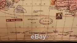 WORLD Flying Airmail Shipping & Railroad Victorian Vintage Framed Wall Atlas Map