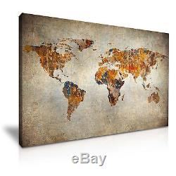 WORLD MAP 22 Grunge Vintage Framed Print Canvas Wall Art More Size