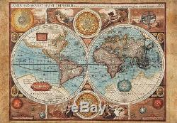 Wall26 Antique Illustrated Map of the World Wall Mural- 100x144 inches