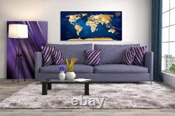 Wall Art Blue map of The World Painting Ready to Hang -30 x 60 Pieces Large