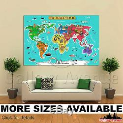 Wall Art Canvas Picture Print Baby's room Kids room World Map 3.2