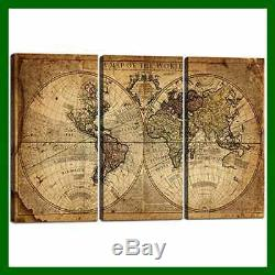 Wall Art Decor Canvas World Map 3 PC Framed LARGE Cont Artwork 02 40''H X 60''W