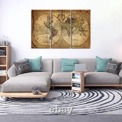 Wall Art Decor Canvas World Map, 3 Pieces Framed Large Canvas Art Contemporary x