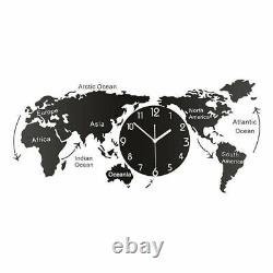 Wall Clock Hanging 1pc Acrylic For Office World Map Bedroom Home Without Battery