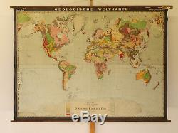 Wall Map Geological World Map 212x154cm 1935 Vintage Justus Perthes Gotha