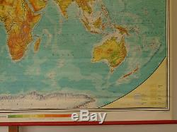 Wall Map Physical World Map 245x142cm Vintage Physical World School Map 1978
