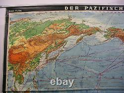 Wall Map Physical World Map Amerika-Zentrisch Without India 270x167 Vintage 1967