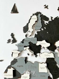 Wall Wooden World Map sz M (63x 37) with Country and States Inscriptions