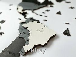 Wall Wooden World Map sz M (63x 37) with Country and States and Capitals