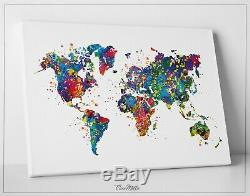 Watercolor WORLD Map Art Print Travel Art Wall Wedding Gift Travel Poster-56