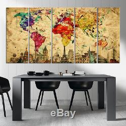 Watercolor World Map Canvas Wall Art Print Extra Large World Map Print