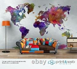 Watercolour World Map Wall Mural Quality Pasteable Wallpaper Decal Kids