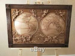 Wood Carving 3D Picture Wooden 3D World Map Wood Wall Art World Map Wall A