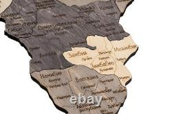 Wood World Map 1600x850 Interior Wall Map Decor With Countries Engraved
