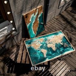 Wooden Wall Map 3D World Map Miller's Cylindrical Projection, Layered Map