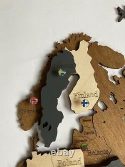 Wooden Wall World Map L sz (76 x 49) with Country+States Names Brown+Dark Grey