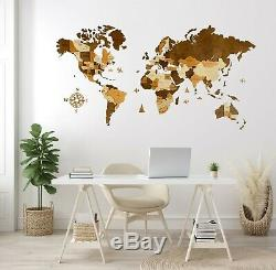 Wooden Wall World Map L sz (76 x 49) with Country+States Names Home Decoration
