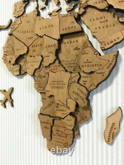 Wooden World Map 3D Wood Wall Art Travel Map Home Decor made of wood