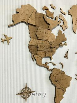 Wooden World Map 3D Wood Wall Travel Map Home Decor Size 15090 cm