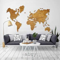 Wooden World Map Travel Rustic Map Wood Wall Art Home Office Decor