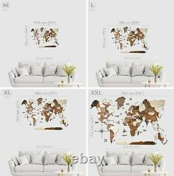 Wooden World Map Travel Theme Home Decor Wall Wood Exclusive Gift Enjoy The Wood