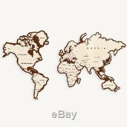 Wooden World Map Wall Decoration Home Interior Geography School Continents New